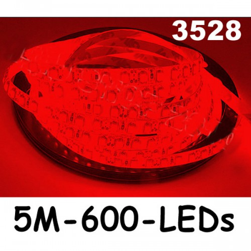 New 5M Car Red 3528 SMD LED Waterproof Strip 12V 600 LEDs
