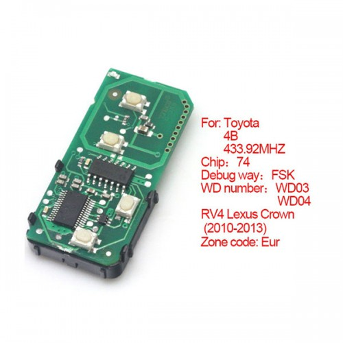 Smart card board 4 buttons 433.92MHZ number :271451-5290-Eur for Toyota