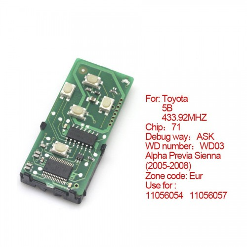 Smart card board 5 buttons 433.92MHZ number :271451-0780-Eur for Toyota