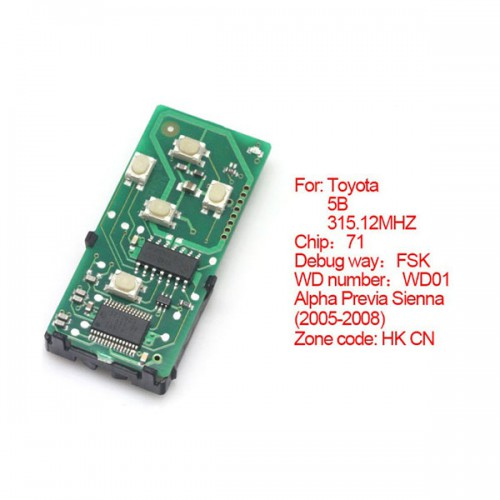 Smart card board 4 buttons 315.12MHZ number :271451-6221-HK-CN for Toyota