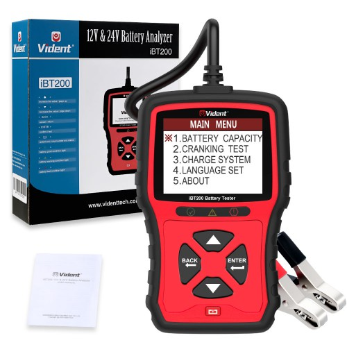 VIDENT iBT200 9V-36V Battery Tester for 12V Passenger Vehicles and 24V Heavy Futy Trucks 100 to 2000CCA Car Battery Analyzer