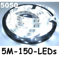 New 5M Cool White 5050 SMD LED Waterproof Flexible Strip 150 LEDs