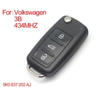 Samrt remote key 3 buttons 433MHZ type: 5K0 837202 AJ for VW New Bora SagitarTouran
