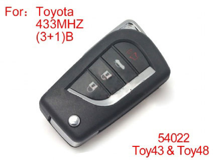 Modified Remote Key 4 Buttons 433MHZ (not including the chip ) for Toyota