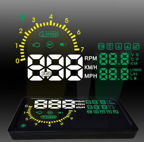 "New 6"" LED OBD-II HUD Head Up Display Over Speeding warning/ Speed/ Km rpm/ Shift light/ Temperature + Tire Indicator I5"