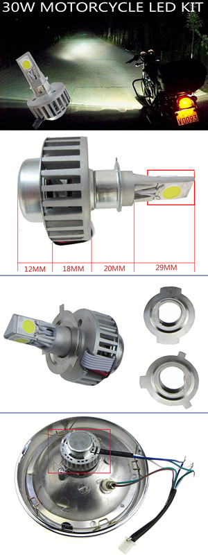 30W Motorcycle Led Hid Bixenon Coversion Kit High & Low Beam Part Acc