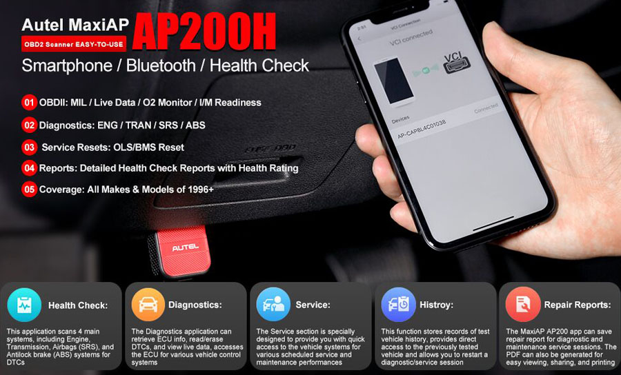 AUTEL MaxiAP AP200H Wireless Bluetooth OBD2 Scanner